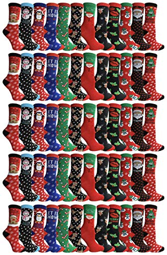 Yacht & Smith Christmas Socks, Colorful Patterns and Stripes, Holiday Slipper Sock, Fuzzy, Bulk Gift (60 PACK Women/Assorted)
