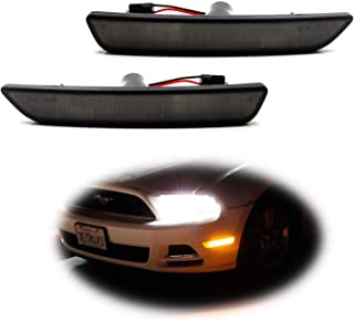 iJDMTOY Smoked Lens Amber Full LED Front Side Marker Light Kit For 2010-14 Ford Mustang, Powered by 27-SMD LED, Replace OEM Sidemarker Lamps