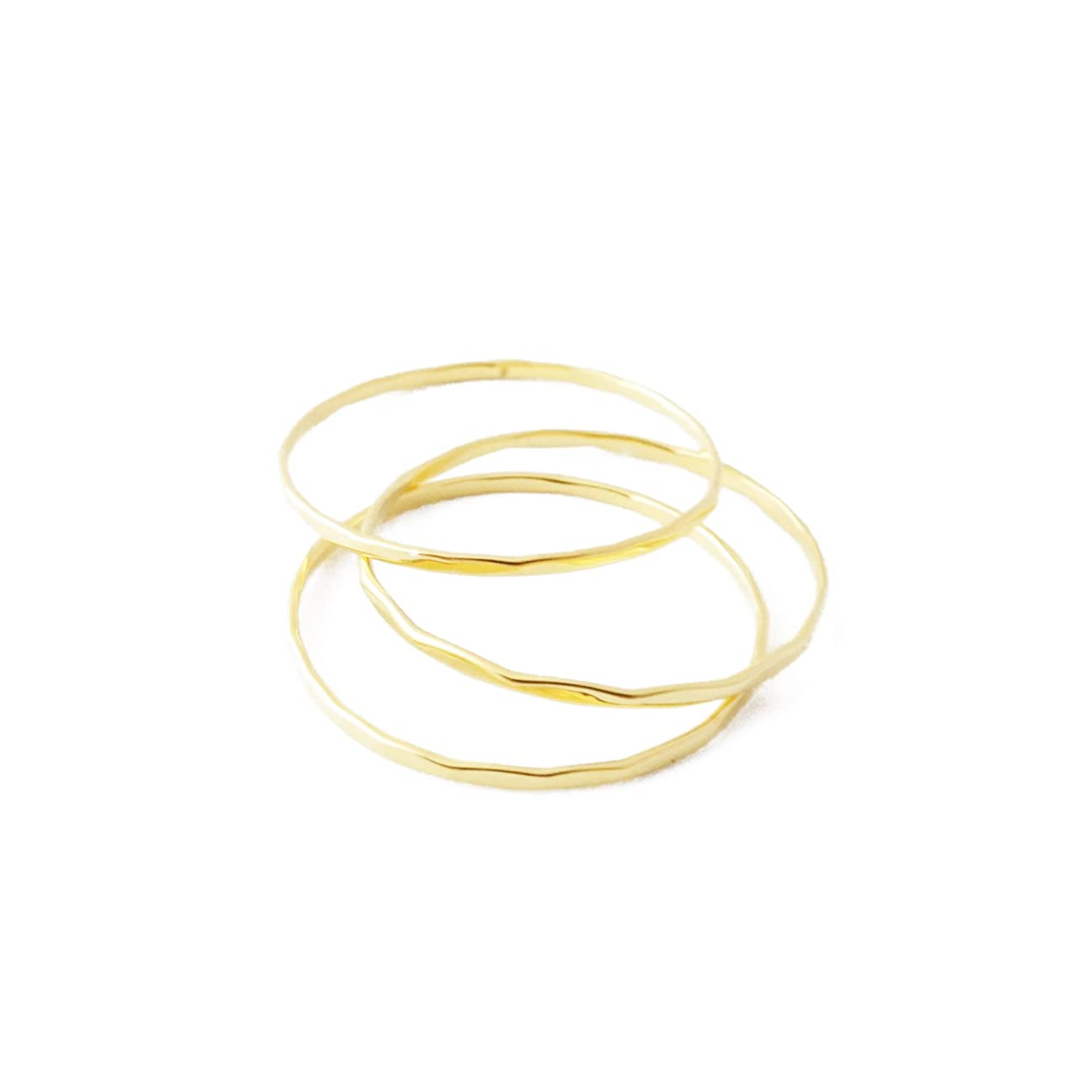 HONEYCAT Super Skinny Hammered or Smooth Stacking Rings Trio Set in Gold, Rose Gold, or Silver | Minimalist, Delicate Jewelry