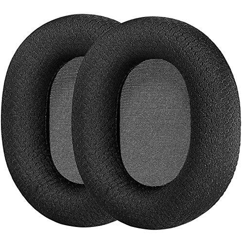 GEVOイヤーパッド ヘッドホンカバー ワイヤレスヘッドホン イヤーパッド イヤークッション ゲーミングヘッドホンSteelSeries Arctis 3 Arctis 5 Arctis 7 Arctis 9X Arctis PRO 等 密閉型 ゲーミングヘッドセット対応 交換用 1ペア ブラックファブリック耳パッドクッション (Black)