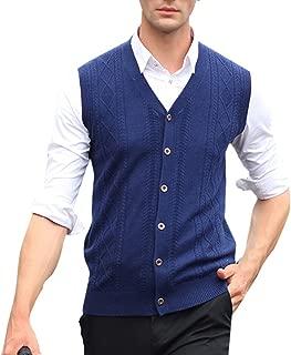 Zhhlinyuan Mens Buttons Business Winter Wool Knitted Jumper Vest Waistcoat Tops