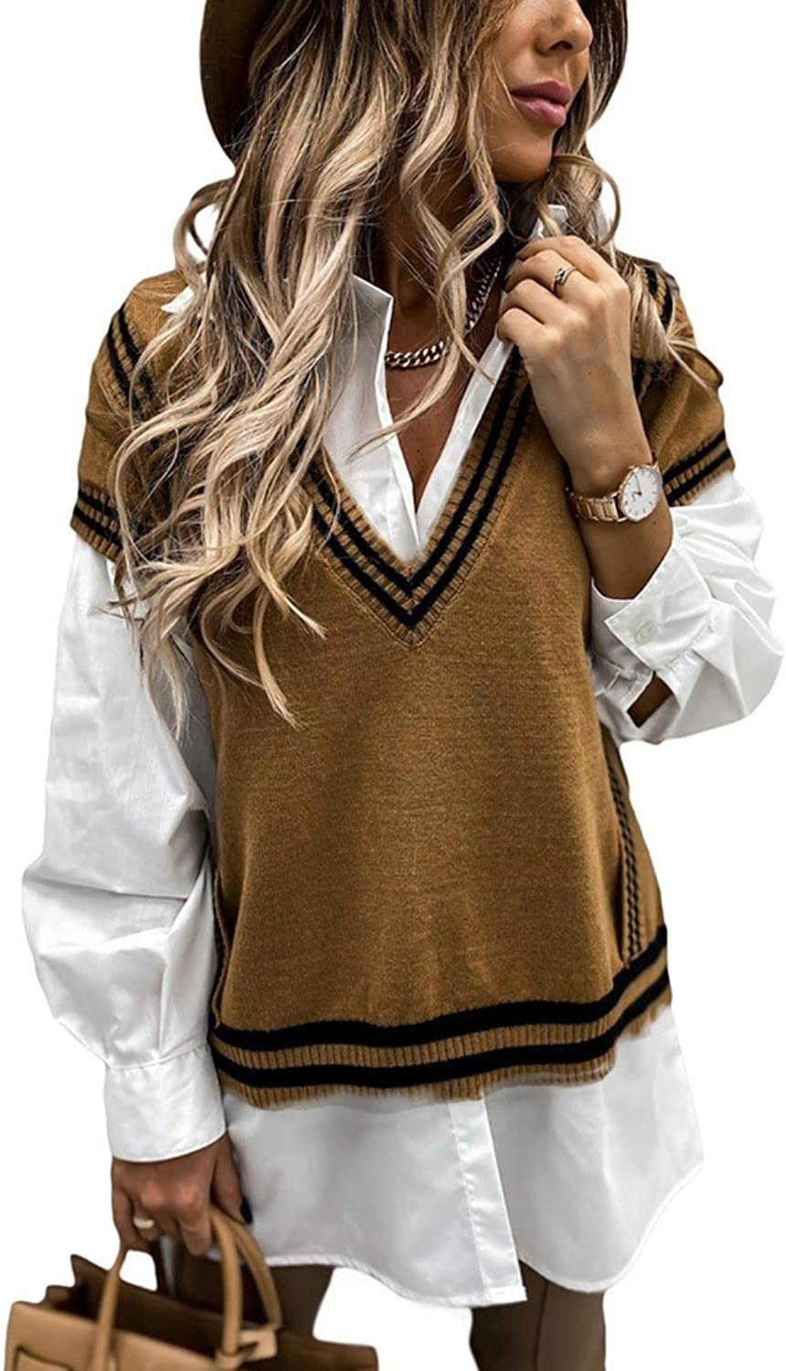 Shiyifa Women's Casual Loose V-Neck Knit Vest Solid Color Sleeveless Sweater Pullover Tops