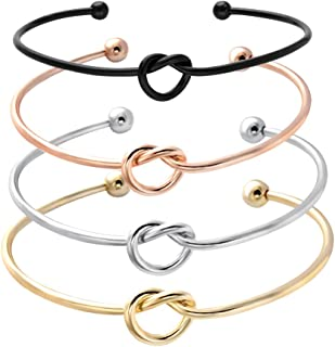 SENFAI Love Knot Bangle Bracelet Simple Knot Bangle Cuffs Women Stretch Bracelet Gold Silver Knot Bangles