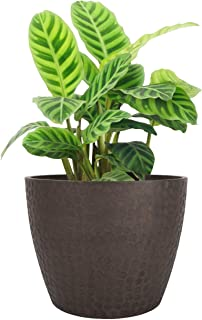LA JOLIE MUSE 9.4 inch Plant Pot for Indoor and Outdoor Plants, Modern Chic Planter with Honeycomb Pattern, Brown