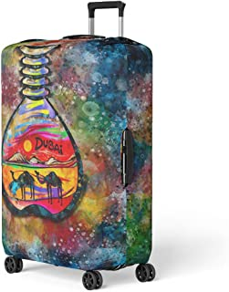 Pinbeam Luggage Cover Colorful Bottle Dubai Sand Souvenir Watercolor Gulf Traditional Travel Suitcase Cover Protector Baggage Case Fits 26-28 inches