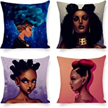 QoGoer African American Girl Throw Pillow Covers Set of 4, Modern Stylish Afro Black Women Decorative Square Pillow Cases Cotton Linen Cushion Covers for Couch Sofa Car, 18 x 18 Inch