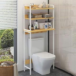 浴室3段直立収納棚、洗濯機トイレスチールオーガナイザーラック、木製ボード、多機能家庭用ユーティリティ棚 (色 : ナチュラル)