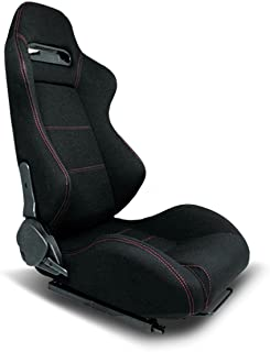 Type-R Style Cloth Reclinable Sport Racing Seat With Red Stitch (Right)