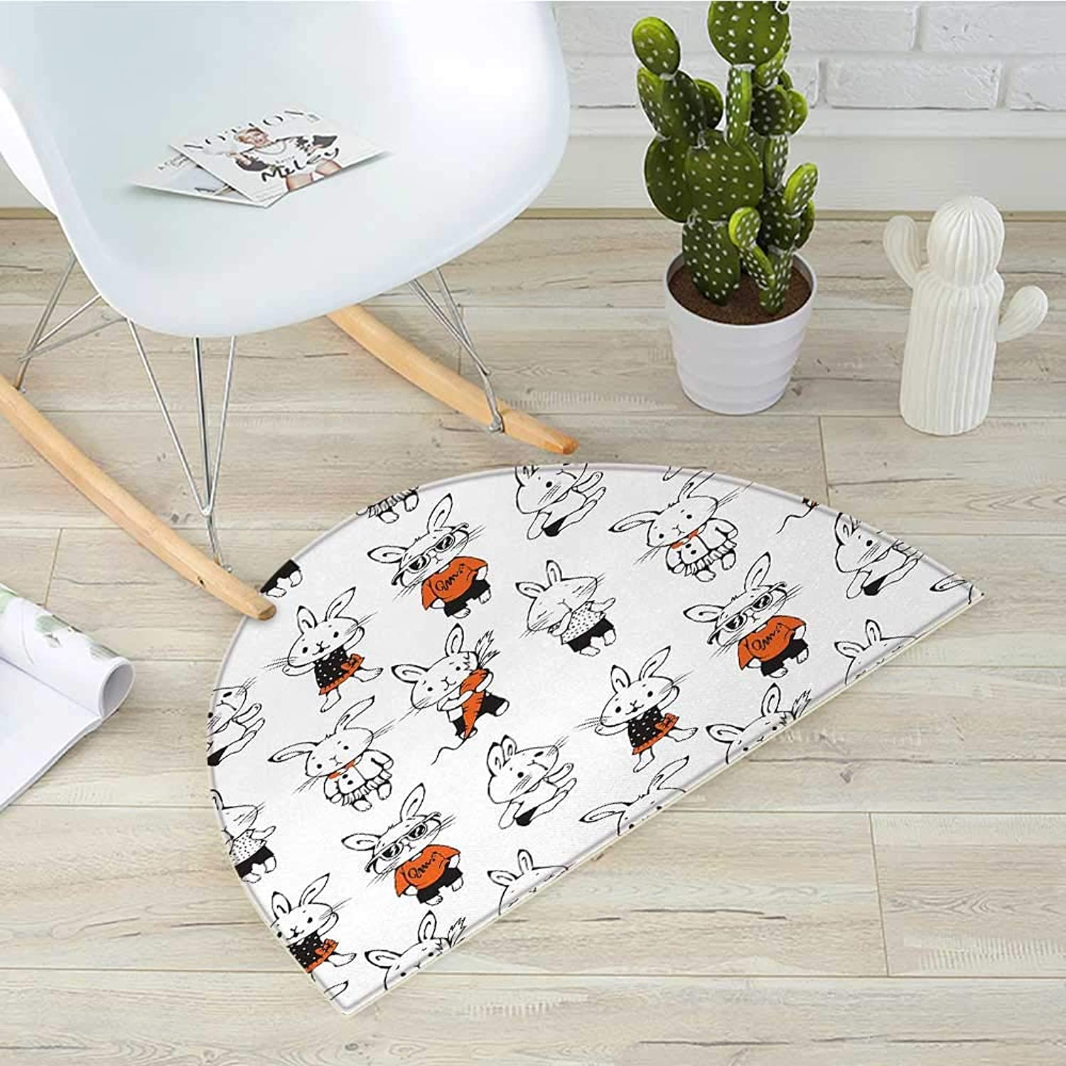 Funny Semicircular CushionCute Retro Bunny Rabbits with Costumes Jack Hare Funky Bunnies Carred Sketch Style Entry Door Mat H 35.4  xD 53.1  orange White