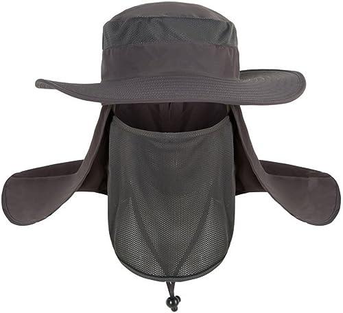 QCHOMEE Chapeau de Soleil Hommes Casquette Visière Large Bord 360° Protection Visage Cou Amovible Chapeau pour Pêche ...