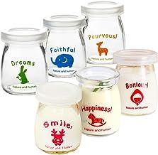 Ldawy Frascos de botellas de vidrio de leche con pudín de yogur con tapas de plástico - Diseño de patrón animal - Perfecto para yogurt