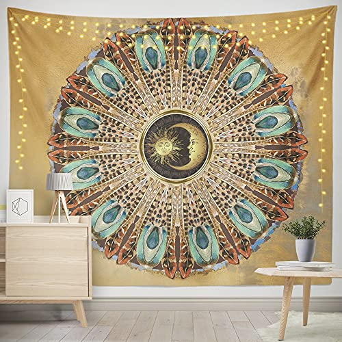 Fonleen Sun and Moon Tapestry Wall Hanging (2rd Generation, Upgrade Tapestries) Hippie Psychedelic Tapestry for Bedroom Aesthetic, Mandala Peacock Tapestrys (Golden, 51.2X59.1in)
