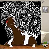 SARA NELL Shower Curtain African American Women Waterproof Polyester Fabric African Art Afro Women Quote Hair Art Bath Curtain Bathroom Decor Set with Plastic Hooks-72 X 72 Inches-Black White Brown