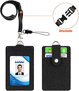 Badge Holder, Life-Mate PU Leather Vertical ID Badge Holder Wallet Case with 3 Card Slots and 1 Piece 20