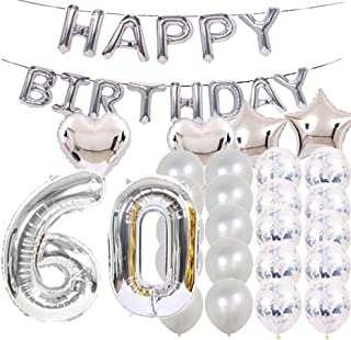 Sweet 60th Birthday Decorations Party Supplies,Silver Number 60 Balloons,60th Foil Mylar Balloons Latex Balloon Decoration,Great 60th Birthday Gifts for Girls,Women,Men,Photo Props