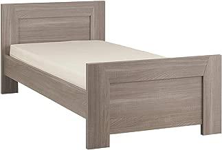 GAMI Hangun Single Frame Bed, Charcoal Oak with 2 Shelves, 120 x 200, 1G36113