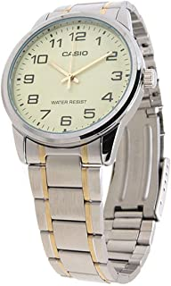 Casio Men's Beige Dial Stainless Steel Analog Watch MTP-V001SG-9BUDF