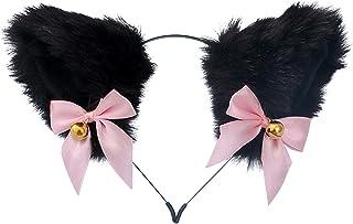 SHEDE Söt plysch katt öra pannband med rosett och klocka fin klänning cosplay fest katt öron rekvisita tecknad plysch kloc...
