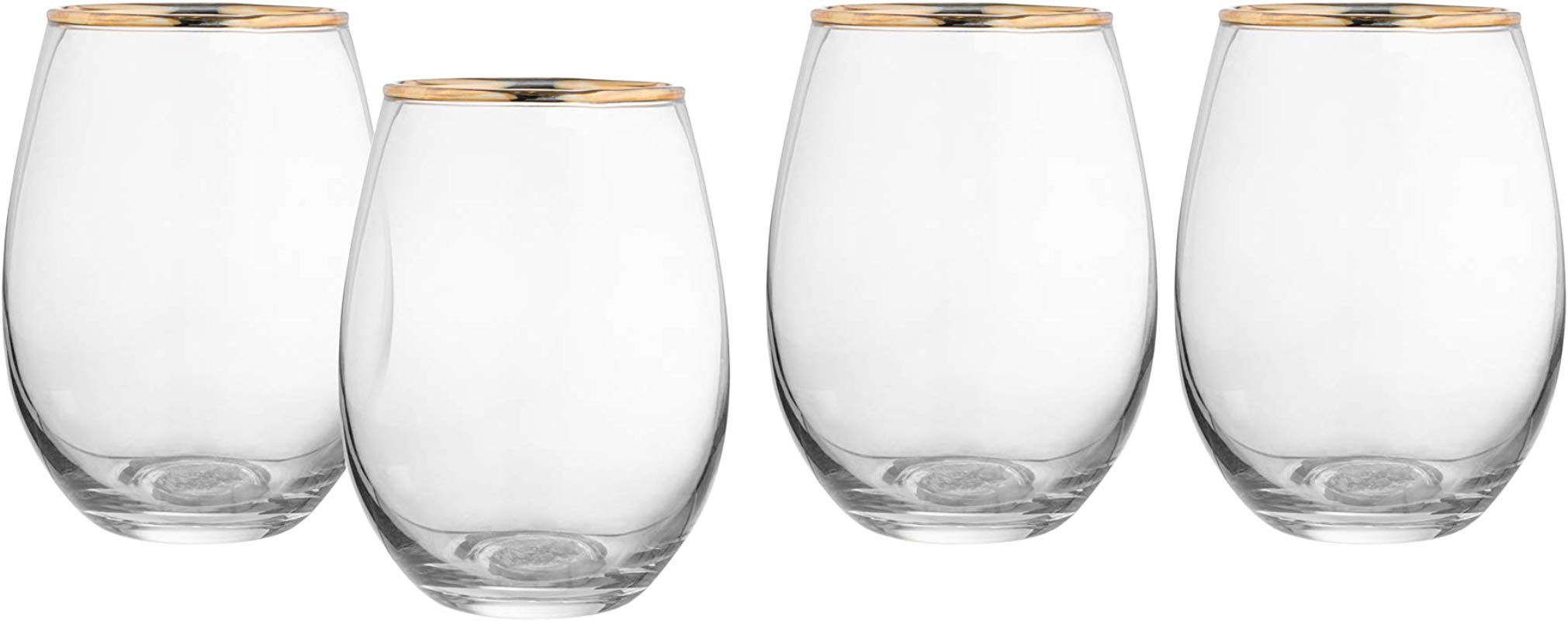 Elle D Cor 229116 4SG Louis Set Of 4 Lead Free Stemless Wine Goblets Glasses 3 5x4 7 Gold