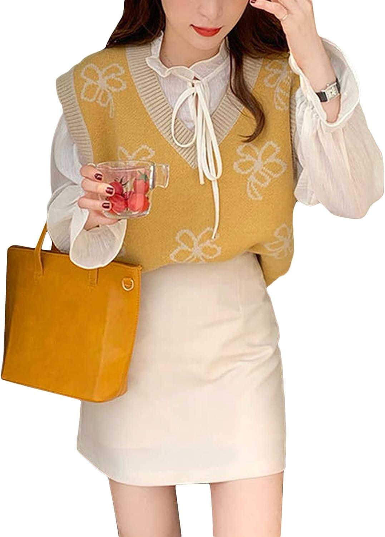 Women Girl Y2k Casual Sweater Vest Vintage Print Fit Drop Shoulder Cute Knit Pullover Knitted Vest Tank Top
