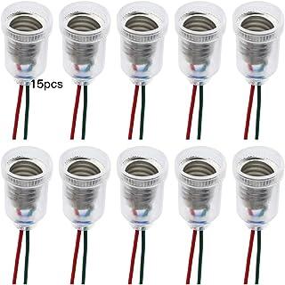 BlueXP 15 Piezas Portalámparas E10 LED Lámparas Base E10 Bombilla Socket Soporte con Línea de Cable para DIY Experimento Circuito Pruebas Eléctricas Accesorios