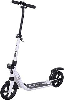 HOMCOM Patinete Plegable para Adultos y Niños más de 14 años Scooter con Manillar Altura Ajustable Tipo Monopatín con Freno Grandes Ruedas Carga 100kg 93.5x38x95-105cm
