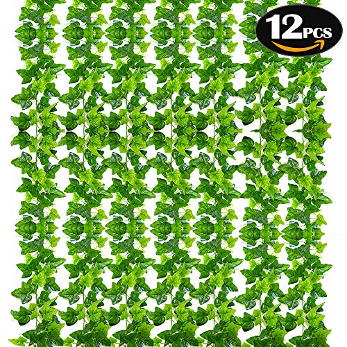 SunTop Plantas Artificial Decoración Hojas, Hiedra Artificial, 2.1 m -12 Pack Garland Plants Hanging Wedding Garland Fake Follaje Flores Inicio Cocina Jardín Oficina Decoración