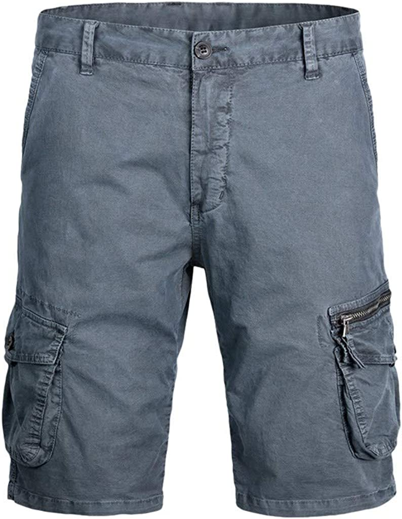 Forthery Cargo Shorts Elastic Waist Drawstring Cotton Casual Outdoor Lightweight Shorts with Zipper Pockets