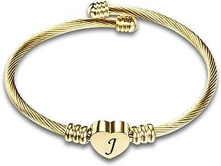 KunBead Women Girls Initial Letter Bracelets Love Heart Bangle Expandable Bracelet Cuff Golden Birthday Gift
