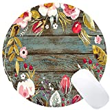 Wknoon Cute Round Mouse Pad Custom, Vintage Hand Drawn Floral Wreath Art on Rustic Wood Circular Mouse Pads for Computers Laptop