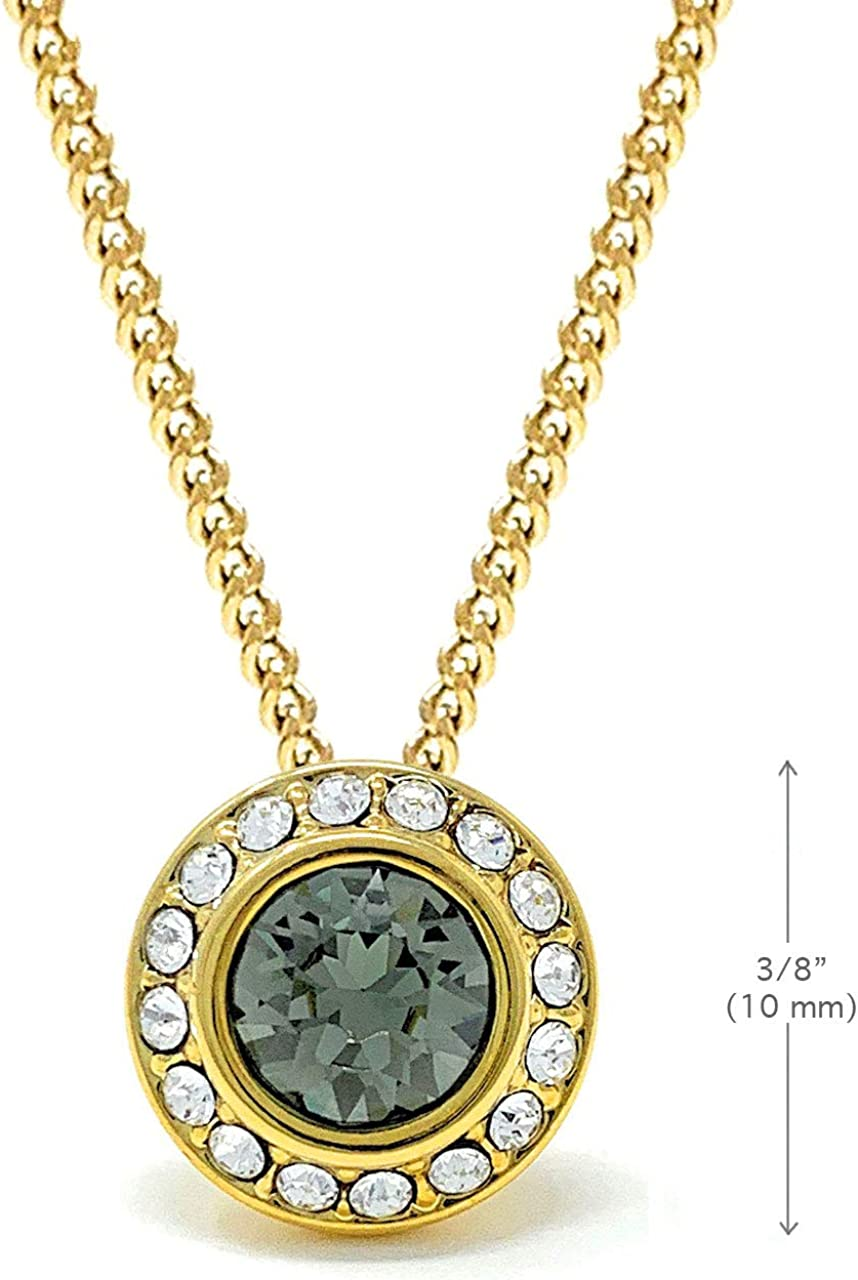 Ed Heart Women's Halo Pave Pendant Necklace with Round Crystals from Swarovski