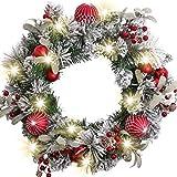 Valery Madelyn Weihnachtskranz 50cm mit 20 LED Beleuchtet batteriebetrieben Türkranz Adventskranz aus PVC mit Timer Funktion Weihnahctskugeln Weihnachtsdeko Kranz für Tür Grün Rot MEHRWEG Verpackung