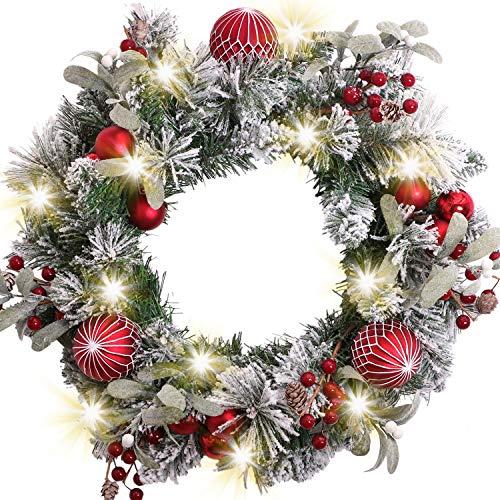 VALERY MADELYN Weihnachtskranz 45cm mit 20 LED Beleuchtet batteriebetrieben Türkranz Adventskranz aus PVC mit Timer Funktion Weihnahctskugeln Weihnachtsdeko Kranz für Tür Grün Rot MEHRWEG Verpackung