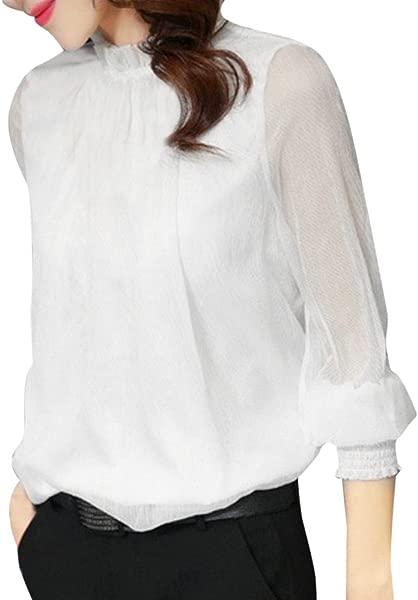 Kaitobe 清仓时尚女式少女休闲长袖雪纺衬衫荷叶边纯色宽松套头衬衫上衣