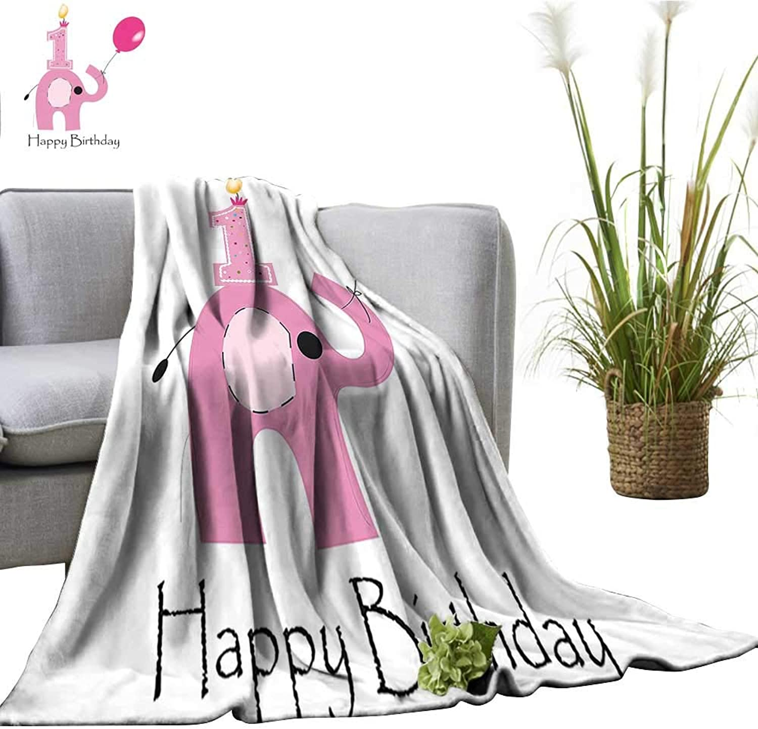 YOYI Travel Blanket Minimalist Design Elephant and Baby Girl Party purplec Light Pink and White Easy to Carry Blanket 50 x70