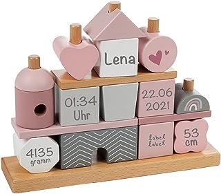 Babygeschenk zum 1. Geburtstag & Geburt Mädchen - Personalisiertes Stapel- und Steckspiel Haus mit Steckformen rosa | Labe...
