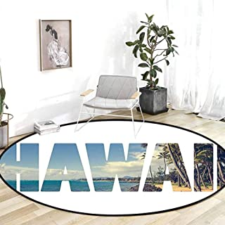 Rugs for entryway Hawaiian Decorations Word Hawaii with Tropical Island Photo Exotic Popular Places Palm Forest by Ocean Blue Green Chair mat Carpet 5'Round