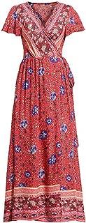 Pevor Women's Summer Casual Dress V Neck Polka Dots Ruffle Short Sleeve Swing Midi Dress/Beach Maxi Dress