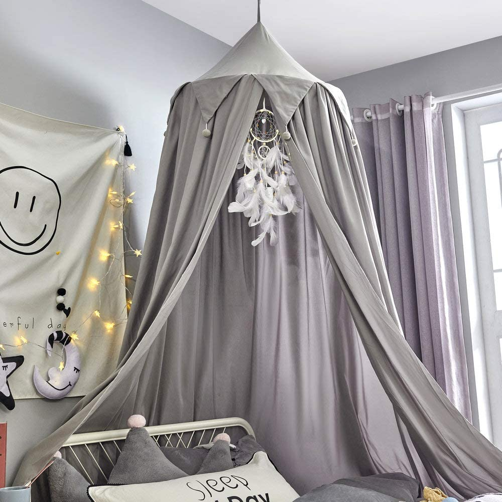 Mybbrm Princess Canopy for Girls Bed with Tassels Hideaway Tent for Kids Rooms or Cribs Nursery for Decoration, Playing,Reading,Sleep as Hanging House Castle (Smoky Gray)