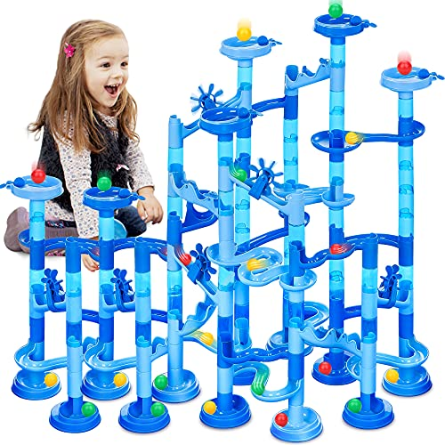 GOGODATE Marble Run Super Set with Water Mat Construction Building Blocks Toys 107PCS STEM Learning Toy for Kids Marble Race Track Gift for Boy Girl All Ages