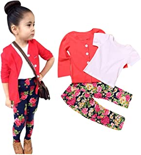 DaySeventh Kids Toddler Girls Long Sleeve T-Shirt Tops+Coat+Pants Fashion Outfits