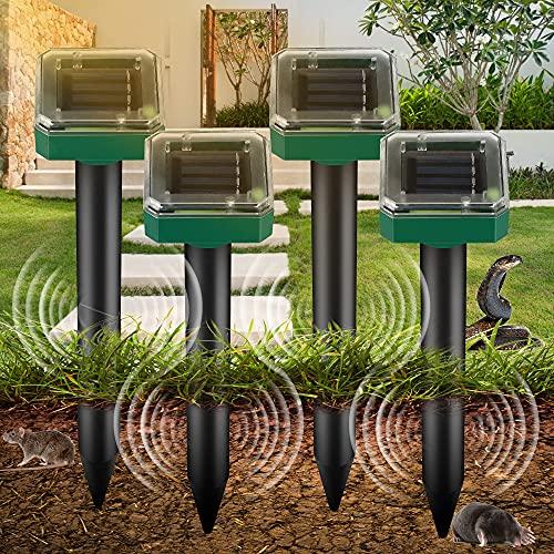 Repelente de Ratones Solar Ultrasónico, Ahuyentador de Topos Solar 4 Piezas, IP65 Repelente Ultrasónico para Animales, Repelente de Topo para Jardines,Céspedes,Roedores,Serpientes, Hormigas,Topillos