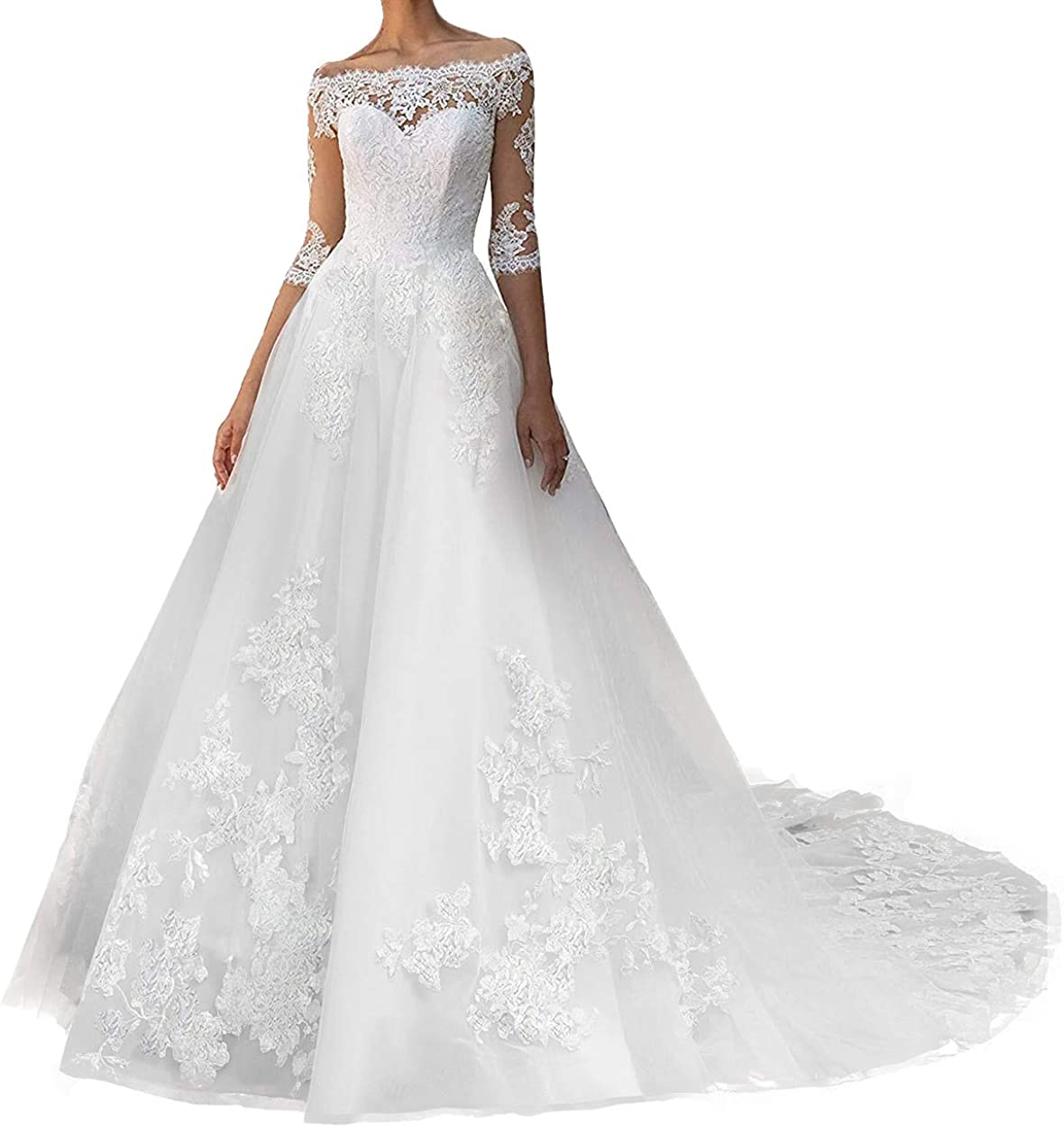 Wedding Dress for Bride Long Sleeves Lace Bridal Gown Off Shoulder Wedding Gowns with Train