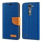 LG Magna Étui portefeuille en cuir Oxford avec coque arrière en TPU souple pour LG G4 Mini
