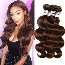 Ornate Hair 8A Grade Virgin Brazilian Body Wave Hair 3 Bundles 100g/bundle 100% Unprocessed Remy Human Hair Weave Extensions #4 Light Brown Full Head (24 26 28inch, 4 Light brown)