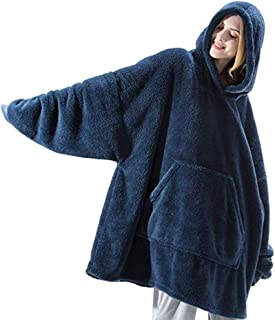 NA Adult Wearable Blanket with Sleeves and Pocket Warm Flannel Sweatshirt Hoodie Wearable Blankets Winter Home Leisure Time