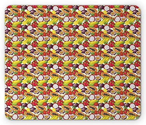 Frucht-Maus-Pad, exotische Zusammensetzung Tropische osthalbierte Pflanzen Vegetarische Mango-Drachen-Frucht, rechteckiges rutschfestes Gummi-Mauspad, Standardgröße, mehrfarbig