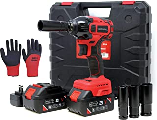 """Toolman Rechargeable Lithium-ion cordless Power Impact Wrench kit 1/2"""" 21V with.."""