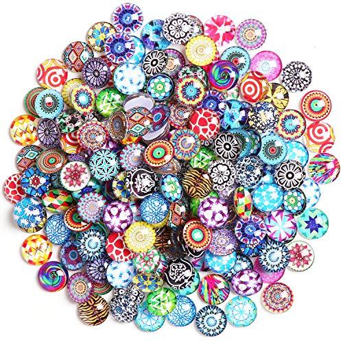 TsunNee 200PCS dekorative Glas-Cabochons Granulate, dekorative Flatback-Taste, bunte Perlen, halbrunde Vasen-Nuggets, bedruckte Mosaikfliesen, DIY-Edelsteine für das Hausgarten-Hochzeitsaquarium