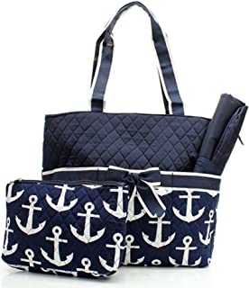 Quilted Navy And White Nautical Anchor Theme Print Monogrammable 3 Piece Diaper Bag With Changing Pad Tote Bag